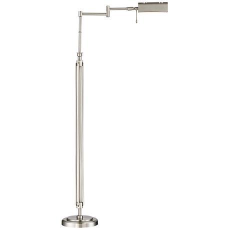 Possini Euro Palmer Brushed Steel LED Swing Arm Floor Lamp