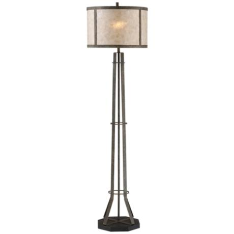 bronze industrial floor lamp with mica shade 9m654 lamps plus. Black Bedroom Furniture Sets. Home Design Ideas
