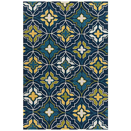 Chandra Terra Blue and Yellow Outdoor Area Rug