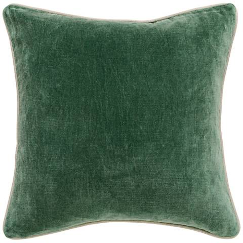 "Grandeur Pine 18"" Square Cotton Velvet Accent Pillow"