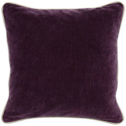 "Grandeur Plum 18"" Square Cotton Velvet Accent Pillow"