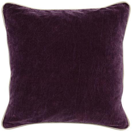 "Grandeur Plum 18"" Square Cotton Velvet Accent Pillow"