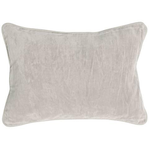 """Fog Light Gray 20"""" x 14"""" Cotton Velvet Throw Pillow"""