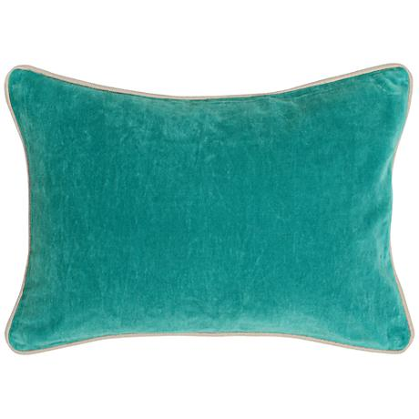 "Pacific Ocean Blue 20"" x 14"" Cotton Velvet Throw Pillow"