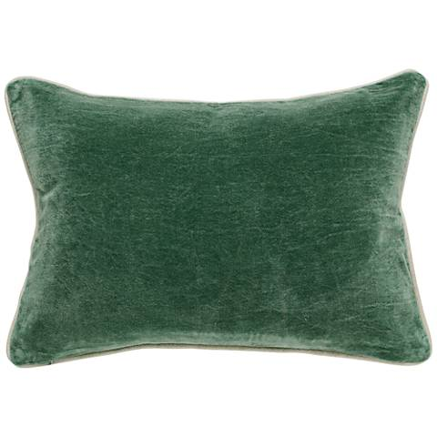 "Pine Forest Green 20"" x 14"" Cotton Velvet Throw Pillow"