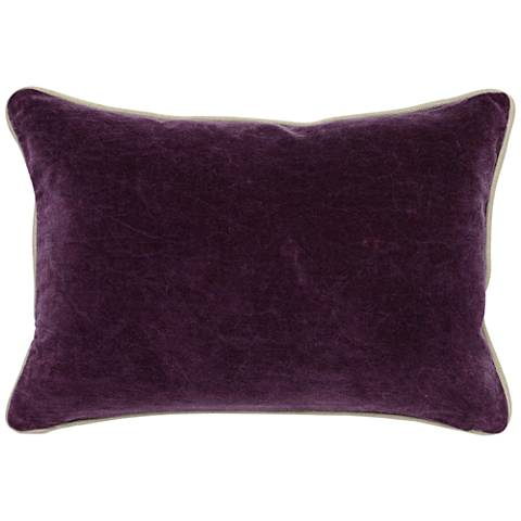 "Deep Plum Purple 20"" x 14"" Cotton Velvet Throw Pillow"