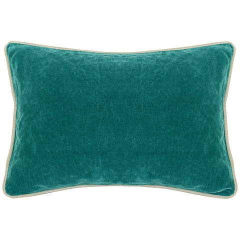 "Bright Teal 20"" x 14"" Cotton Velvet Throw Pillow"