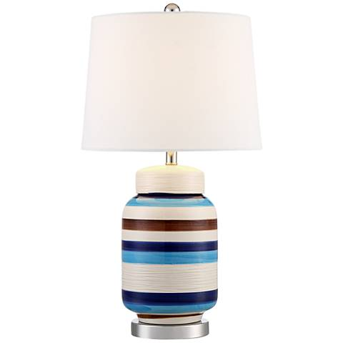 Clovis Blue and Brown Striped Table Lamp