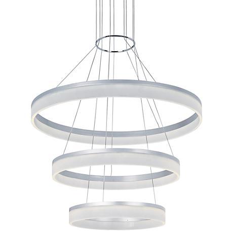 "ET2 Saturn 31 3/4""W Metallic Silver LED Multi Light Pendant"
