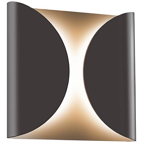 "Folds 8"" High Textured Bronze Outdoor LED Wall Light"