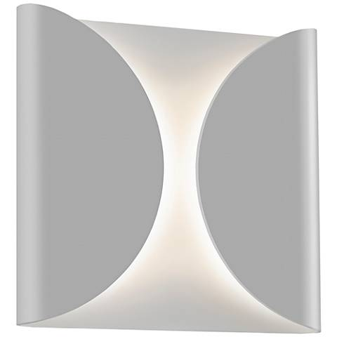 "Folds 8"" High Textured Gray Outdoor LED Wall Light"