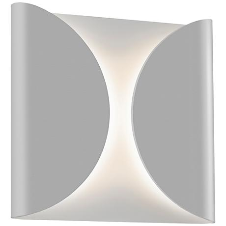 """Folds 8"""" High Textured Gray Outdoor LED Wall Light"""