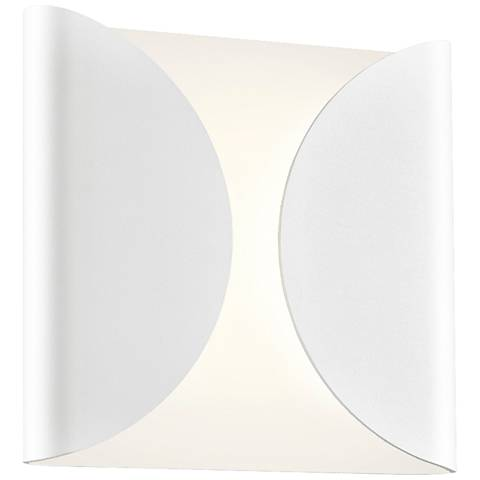 "Folds 8"" High Textured White Outdoor LED Wall Light"