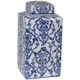 "Mingming 10 3/4"" High Crackled Blue and White Covered Jar"