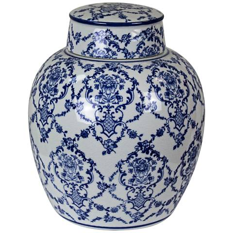 """Mingming 10"""" High Crackled Blue and White Covered Jar"""