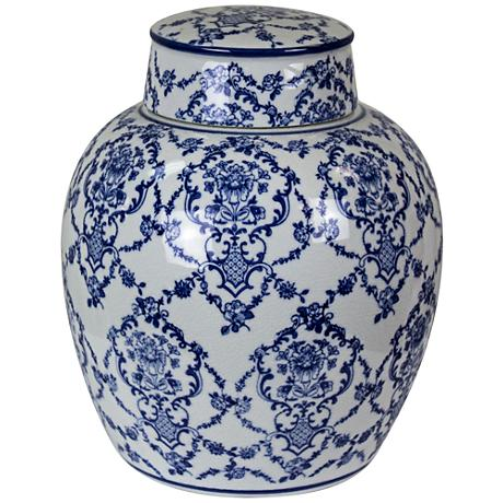 "Mingming 10"" High Crackled Blue and White Covered Jar"