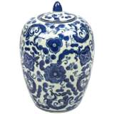 "Carol Blue and White 12"" High Oval Ceramic Ginger Jar Vase"