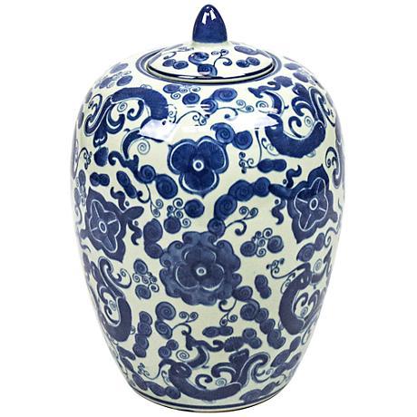 "Carol Blue and White 12"" High Oval Ceramic Ginger Jar Vase"