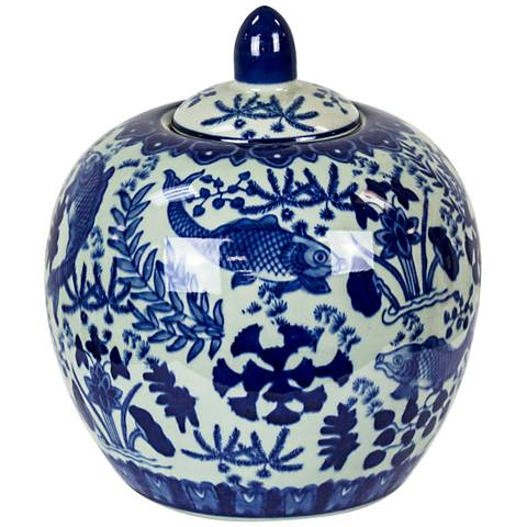 "Carol 9"" Blue and White Round Ceramic Covered Jar"