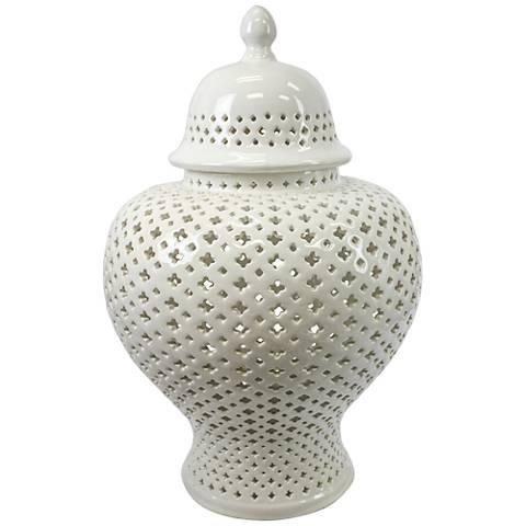 "Lucy 19 1/2"" High Pierced Ceramic Covered Jar"
