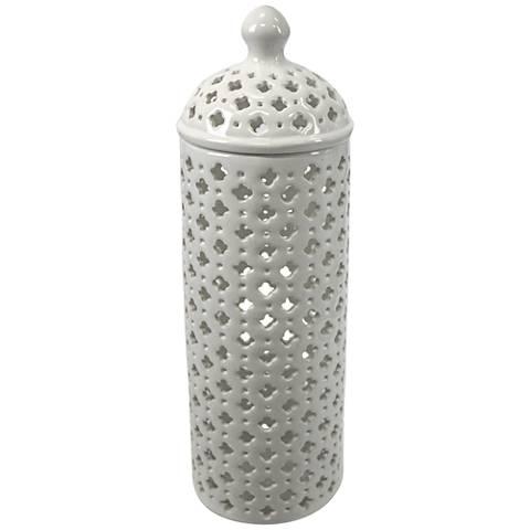 "Lucy 16"" High Pierced Ceramic Covered Jar"