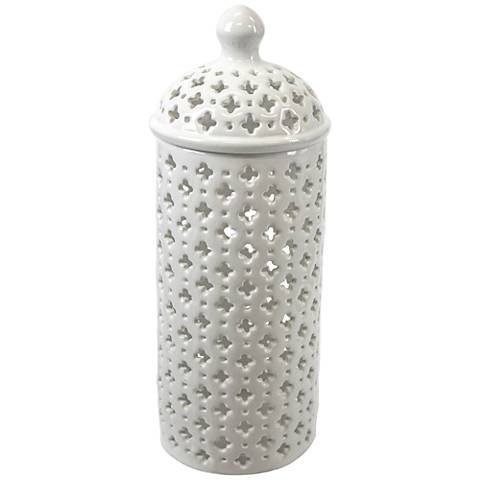 "Lucy 14"" High Pierced Ceramic Covered Jar"