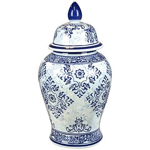 "Wanda 18 1/4"" High Blue and White Ceramic Temple Jar"