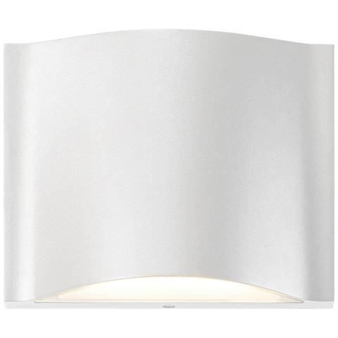 """Drift 4 3/4""""H Textured White Dual LED Outdoor Wall Light"""