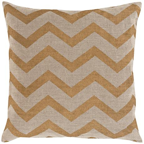"Surya Metallic Stamped Chevron Gold 18""W Throw Pillow"