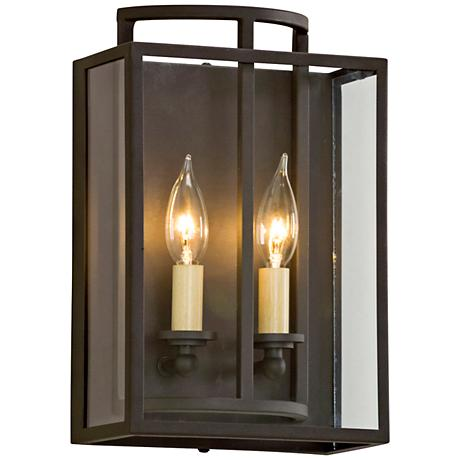 maddox 12 3 4 high textured bronze wall sconce 9n125 lamps plus. Black Bedroom Furniture Sets. Home Design Ideas
