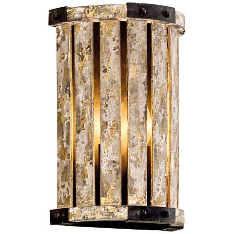 "Stix 12 1/4"" High Antique Gold Leaf Wall Sconce"