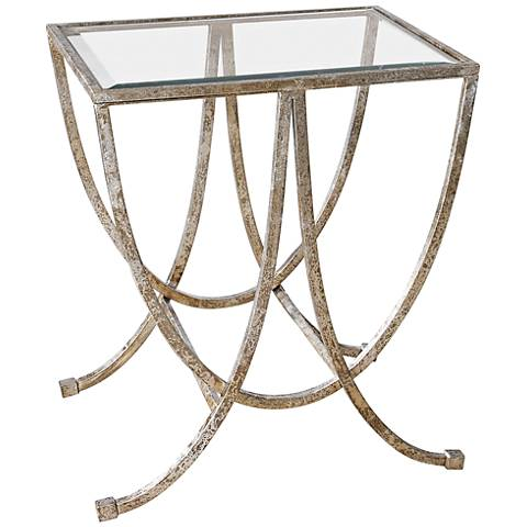 Uttermost Marta Antiqued Silver Leaf Iron Side Table