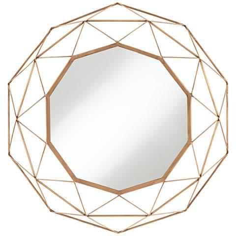 """Deven Warm Bronze 23 3/4"""" Round Geometric Wall Mirror"""