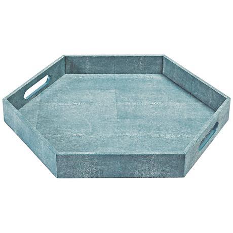"Regina Andrew Design Turquoise 20"" Wide Hexagon Serving Tray"