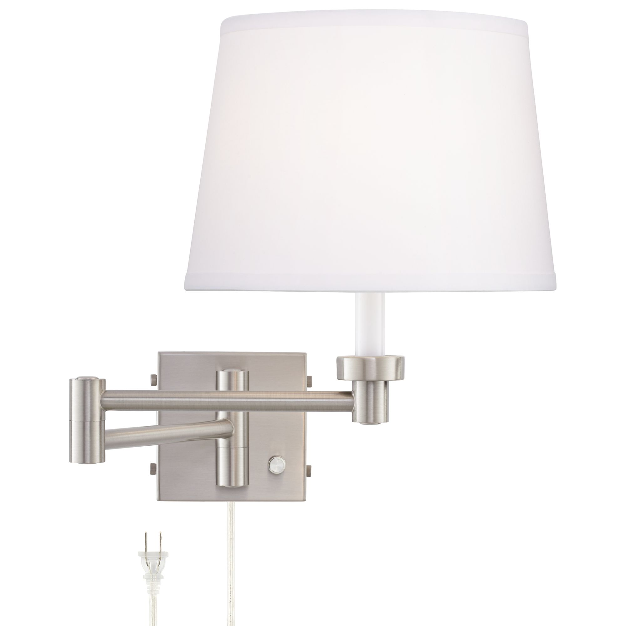 vero brushed nickel plugin swing arm wall lamp with usb