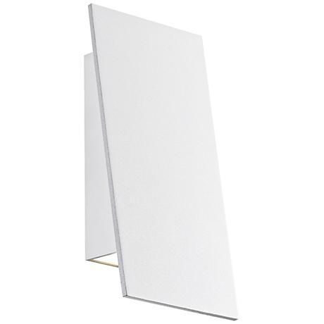 "Angled Plane 7 3/4""H White Narrow LED Outdoor Wall Light"
