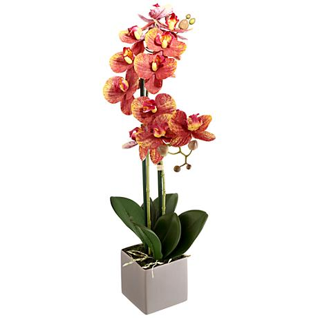 "Real Touch Phalaenopsis 21"" High Silk Potted Plant"