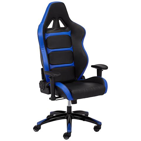 Vector Black and Blue Elastic Nylon Adjustable Gaming Chair