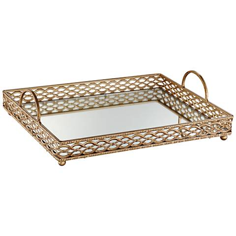 "Magot 13"" Wide Antique Gold Mirrored Tray"