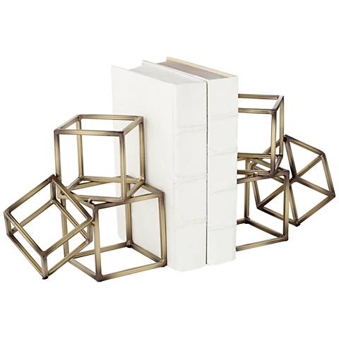 Tricube Metal Geometric Square Bookends