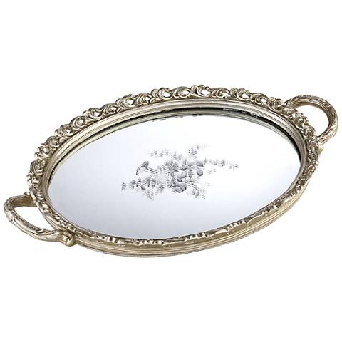Bellington Silver Floral Small Decorative Mirrored Tray