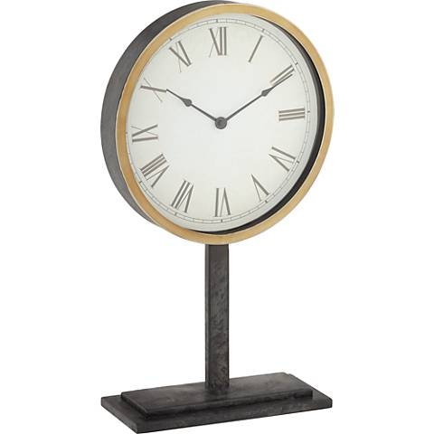 "Clarence Multi Metallic 21"" High Round Table Clock"