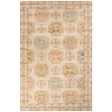 Jaipur Pendant Beige and Gold Wool Area Rug