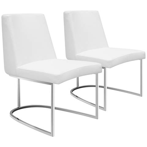 Chichi White Faux Leather Dining Chair Set of 2