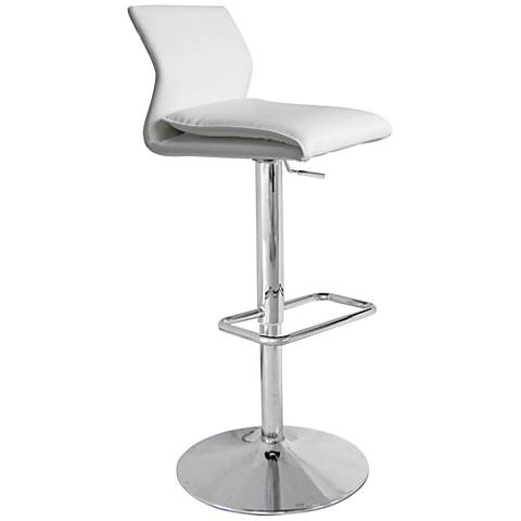 Ace White Faux Leather Bent-Back Adjustable Barstool