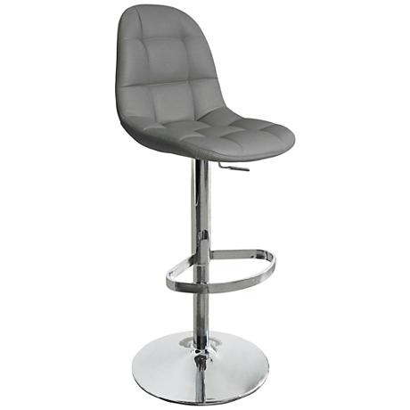 Benjamin Gray Faux Leather Quilted Adjustable Barstool