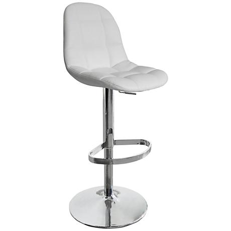 Benjamin White Faux Leather Quilted Adjustable Barstool