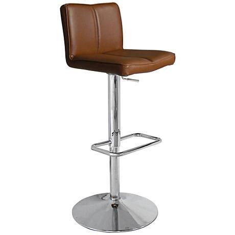 Charlie Tan Faux Leather Adjustable Barstool