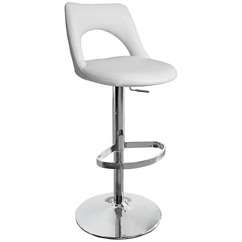 Lindsey White Faux Leather Adjustable Barstool