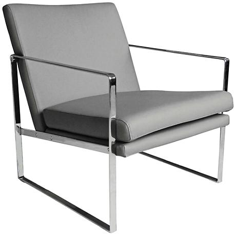 Lennox Gray Faux Leather Modernist Square Armchair